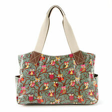 Owl Print Oilcloth Women Shoulder Bag School Bag Tote Handbag Girls Bookbag