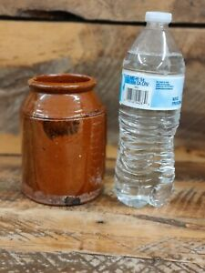 Antique Pennsylvania 19th C Redware tobacco jar with manganese. Small size!