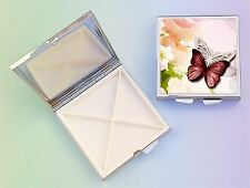 Butterflies 4 Compartment Square Metal Pill Box PBSB-2 by paws2print