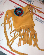 """5x5"""" Leather Fringed Leather Bag w/ Rosette & Braided Strap Native American SB02"""