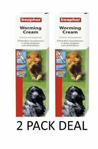 BEAPHAR ROUNDWORM WORMING CREAM DOG PUPPY CAT KITTEN WORMER TREATMENT18G X 2