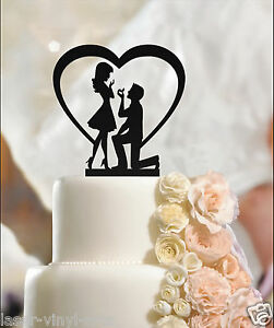 Fiance & Fiancee Cake Toppers  Heart and Ring Engagement cake topper silhouette