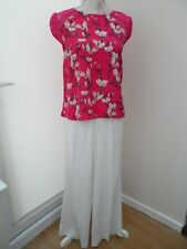 Ladies M&S Trousers, White, with linen, Size 10, Medium length, BNWT.