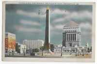 Postcard Linen IN 1940 Indianapolis Indiana World War Memorial Plaza ~ Night C14