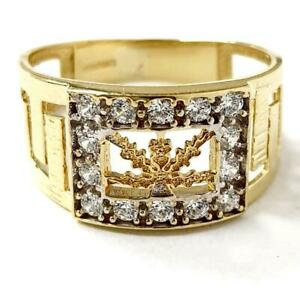 9ct Gold Men's Ring Leaf Design White Cubic Zirconia Yellow Gold Sizes O T W