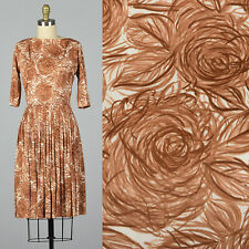 S 1960s Brown Rose Print Dress Floral Day Wear Pleated Skirt Casual Fall 60s