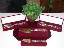 Lot 4 MIKASA ROUSSEAU Crystal Silver Plate CAKE SALAD FORK SPOON CHEESE SERVERS