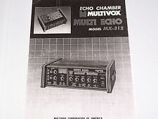 Multivox MX-312 Echo Chamber PDF Owner and Service Manuals