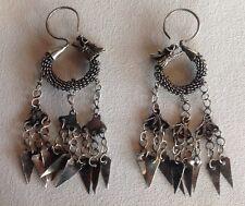 "Handmade Miao Hill Tribe Asian Silver Plated Metal Dragon 3"" Long Earrings"