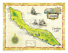 "19.5 x 25"" Curacao Vintage Look Map Poster Printed on Frenchtone Parchment Paper"