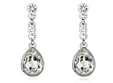 droplet silver stud earrings with dangling clear crystal stone women new E602