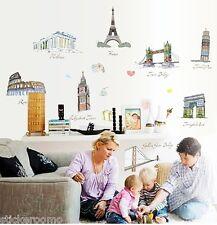 WORLD BUILDING LANDMARK LANDSCAPE ROOM WALL ART STICKER HOME DECAL DIY DECOR