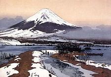 Fuji From Lake Kawagachi 15x22 Japanese Print Yoshida Asian Art Japan Sushi