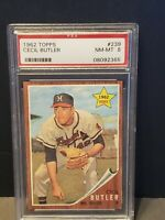 1962 TOPPS Cecil Butler PSA 8 NM-MT #239 Milwaukee Braves ROOKIE RARE HIGH GRADE