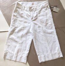 Caslon Womens Solid White Linen Cotton Wide Leg Capri Shorts Pants Size New