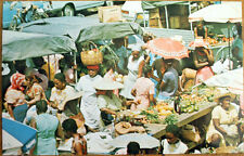 1960s Guadeloupe AF Chrome Postcard: Market Day, Point-A-Pitre