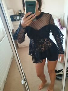 SELF PORTRAIT  Lace Black Sheer Top/ Blouse Sz 8 Eur 36