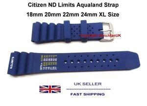 ND Limits Blue Silicone Diver Strap For Citizen Aqualand Promaster