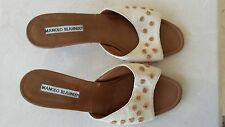MANOLO BLAHNIK LEATHER WOVEN HEMP EMBROIDERED DOT SANDALS HEELS SLIDES 39 ~9