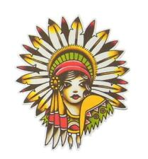 New listing Native American Lady Craft Diy Iron on Patch Flash Tattoo Applique Sailor Jerry