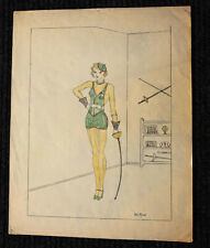 ORIGINAL ART DECO Large PIN UP Drawing of Female Fencer, Signed ARTIE MOORE 1934