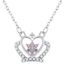"925 Sterling Silver Pink CZ Princess Crown Necklace Girls Children Kids 16"""
