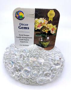 "Mega Marbles1/2""  Small Round Ice Clear Mosaic Glass Gems 12oz Net Bag Vacor"