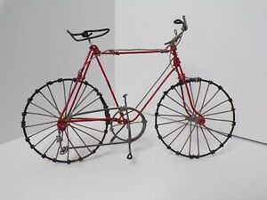 Vintage Hand Crafted Miniature Bicycle Folk Art Metal Wire Sculpture Red Enamel