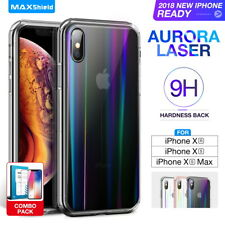 iPhone X XR XS Max Case Cover, Laser Aurora Crystal Slim Clear Bumper For Apple