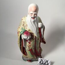 Chinese Antique Hand Painted Porcelain Statue Figurine Shou Xing God Longevity