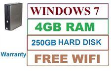 FAST Dell PC Computer Desktop WINDOWS 7 PRO 4GB 250GB Sata Hard Disk  Wifi