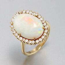 RING - 18K Gelbgold mit Opal ca. 8,0 ct - Brillanten 0,51 ct W/SI - 6,5 g Gr. 53