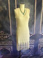 AS U WISH Gold Scalloped Lace 1920s Flapper Sheath Dress SMALL Fringed Hem NEW