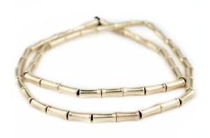 Gold Bamboo-Shaped Beads 12x5mm Brass Tube Brass Large Hole 24 Inch Strand