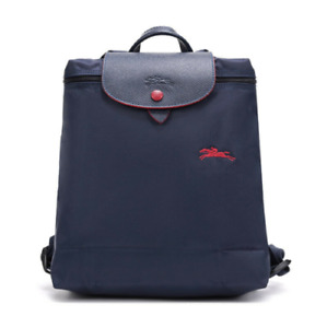 New Longchamp Le Pliage 1699 Nylon Backpack with Embroidered horse Bag Navy Blue