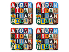 Personalized Coasters featuring the name AIDAN in sign letter photos - Set of 4