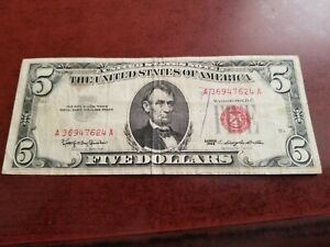 Red Seal $5 U.S. Note, series 1963, circulated     INV04     ML408