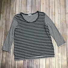 James Perse Standard Gray Ivory Striped 100% Cotton Long Sleeve Knit Shirt SZ 3