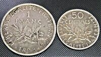 1898 France 1 Franc & 50 Centimes KM# 844.1, 854 - 2 Silver Coins