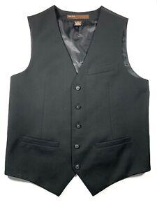 Perry Ellis Black Vest Mens S Adjustable Back Buckle Button Front Dress Suit