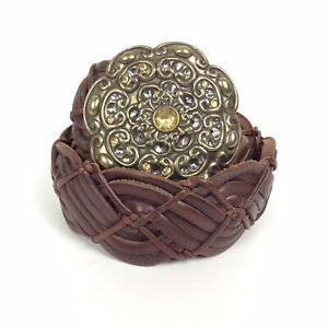 Fossil Woven Belt Ladies Sz Medium Brown Leather Jeweled Cast Brass Buckle Boho