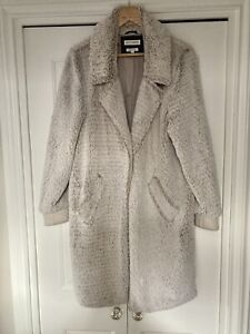 Native Youth, Faux Fur Mid Length Coat, In Off White, Size M