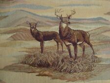 """One yard TAPESTRY Upholstery FABRIC White Tail BUCK DEER Hunting 54"""" x 36"""" BTY"""