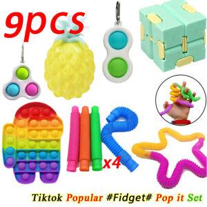 9X Pop it Fidget Sensory Toy Set Autismus SEN ADHS Fidget Stressabbau Spielzeug