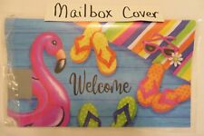 """Magnetic Mailbox Cover """"Welcome"""" Flamingo Float, Swimming Pool, Flip Flops Towel"""