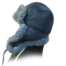 Blue Russian Military Style Aviator Trapper Genuine Shearling Sheepskin Hat, XL