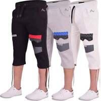 Mens 360 Long Cargo Combat Fleece 3/4 Length Shorts Casual Gym Cotton Zip Pocket