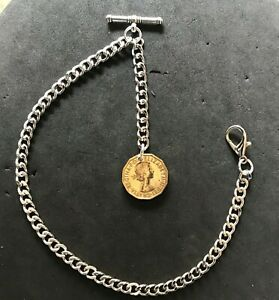 Silver colour Albert pocket watch chain with a E II Brass Threepenny Bit  fob