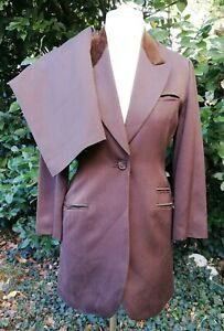 Georges Rech Paris Brown Wool Silk Mix Jacket Skirt Suit Sz 38 UK 10 Formal