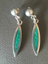 Vtg Taxco earrings Mexican sterling silver 925 Juan Sandoval Vasquez turquoise